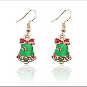 Christmas Bell Enameled Dangle Earrings